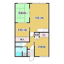 JR石北本線 北見駅 徒歩30分の賃貸アパート 2階3LDKの間取り