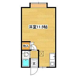 HANAハウス 2階ワンルームの間取り