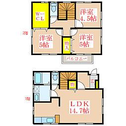 レインボーヴィレッジC棟 1階3LDKの間取り