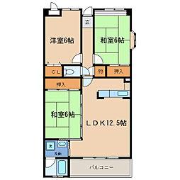 クレメント瀬田[3階]の間取り