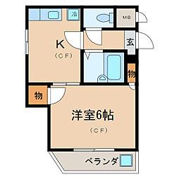 ローズコーポ瀬田I[1階]の間取り