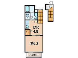 滋賀県大津市大萱2丁目の賃貸アパートの間取り