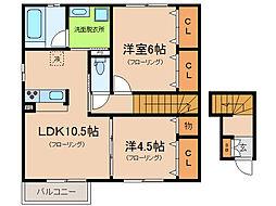 ドルフ東矢倉[2階]の間取り