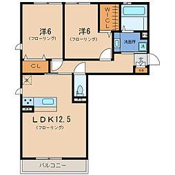 リート623WEST[2階]の間取り