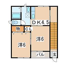 惣門ビラ[2階]の間取り
