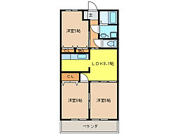 ウエストステージ[3階]の間取り