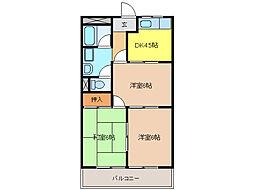 ロイヤルパーク花戸[2階]の間取り