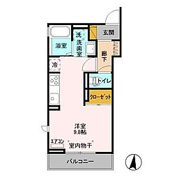 エスポワール(木更津) 2階ワンルームの間取り