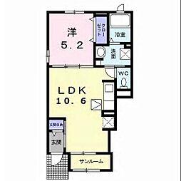 JR内房線 袖ヶ浦駅 バス9分 金田東4丁目下車 徒歩4分の賃貸アパート 1階1LDKの間取り