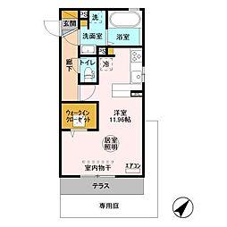 JR内房線 長浦駅 バス9分 袖ヶ浦電話局バス停下車 徒歩1分の賃貸アパート 1階ワンルームの間取り