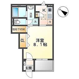 JR内房線 袖ヶ浦駅 徒歩7分の賃貸アパート 1階1Kの間取り