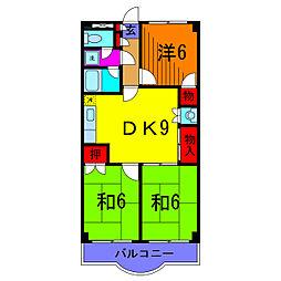 ファインクロス壱番館[3階]の間取り
