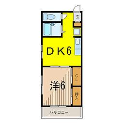マンション稲村[4階]の間取り