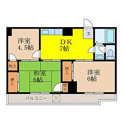 ハタノコーポ[5階]の間取り