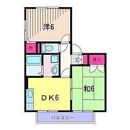 東京都葛飾区水元2丁目の賃貸アパートの間取り