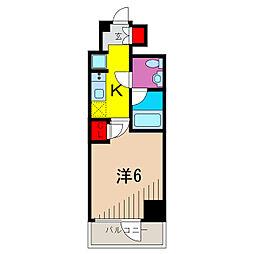 GENOVIA綾瀬skygarden 2階1Kの間取り