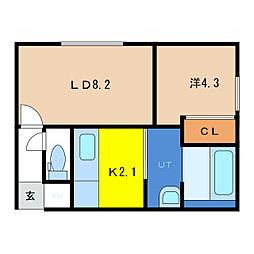 フォレストRIII 1階1LDKの間取り