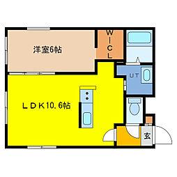ITH asahicho 1階1LDKの間取り