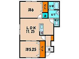 北海道亀田郡七飯町鳴川3丁目の賃貸アパートの間取り