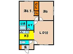 北海道北斗市久根別3丁目の賃貸アパートの間取り