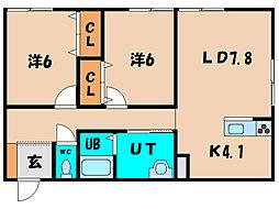 北海道北斗市本町の賃貸アパートの間取り