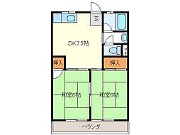 コーポ川添[3階]の間取り