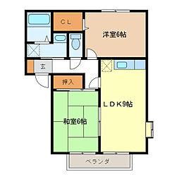 サンガーデンA・B棟[2階]の間取り