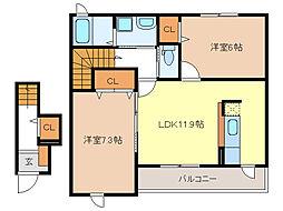 クレールI・II・III[2階]の間取り