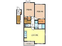 エスペランスA・B棟[2階]の間取り