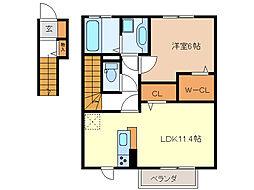 ジーウィズダム B棟[2階]の間取り