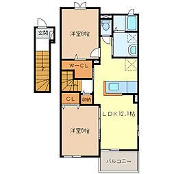 サニーハイツSEINAI IIIIV[2階]の間取り
