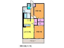 ピュアライフ坂井II[2階]の間取り