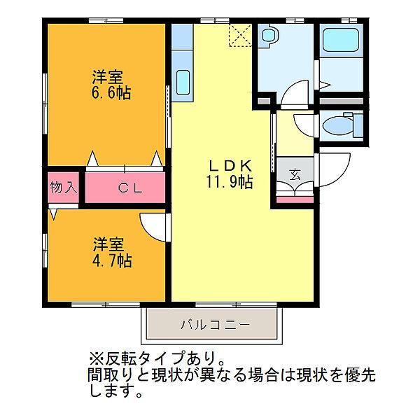 新潟県新潟市西区浦山1丁目の賃貸アパートの間取り