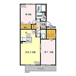 新潟県新潟市西区ときめき西1丁目の賃貸アパートの間取り