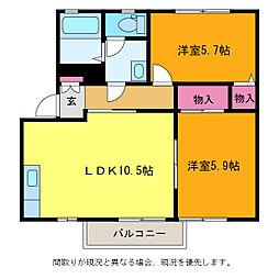 新潟県新潟市南区鯵潟の賃貸アパートの間取り