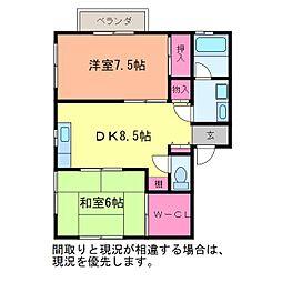 サンハイツシライ[1階]の間取り