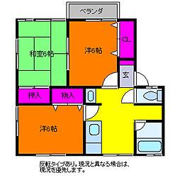 クレストA(3DK)[1階]の間取り