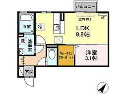 ラ・ランド上新栄A[1階]の間取り