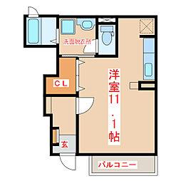 JR指宿枕崎線 坂之上駅 徒歩2分の賃貸アパート 1階ワンルームの間取り