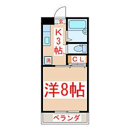 バス 石塚下車 徒歩3分の賃貸マンション 2階1Kの間取り