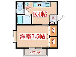 JR指宿枕崎線 坂之上駅 徒歩8分の賃貸アパート 2階1Kの間取り