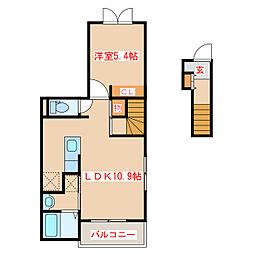 鹿児島県日置市伊集院町徳重の賃貸アパートの間取り