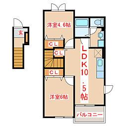 JR指宿枕崎線 枕崎駅 バス40分 合同庁舎下車 徒歩6分の賃貸アパート 2階2LDKの間取り