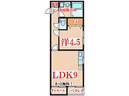 JR指宿枕崎線 喜入駅 3.5kmの賃貸アパート 2階1LDKの間取り
