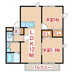 バス 川畑下車 徒歩4分の賃貸アパート 2階2LDKの間取り