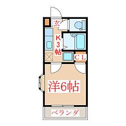 JR指宿枕崎線 坂之上駅 徒歩11分の賃貸マンション 2階1Kの間取り