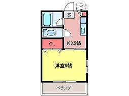 第2田辺コーポ[208号室]の間取り