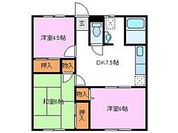ハイツタカムラ[B203号室]の間取り