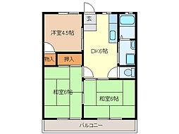 永倉コーポ2号棟[1階]の間取り