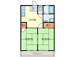永倉コーポ1号棟[2階]の間取り